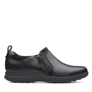 Clarks Un Adorn Zip Black Combi Womens Shoes